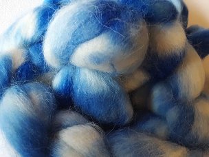Sky Blue Alpaca dyed combed top