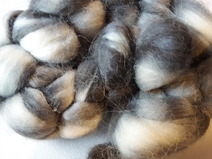 Shades of Gray Alpaca dyed combed top