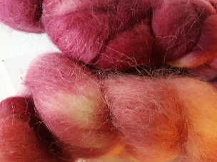 Crimson Alpaca dyed combed top