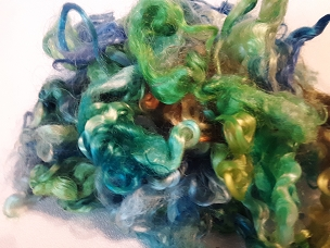 Blue/Green/Gold Mohair Locks