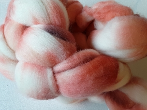 Salmon Merino dyed combed top