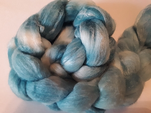 Teal Merino Silk dyed combed top