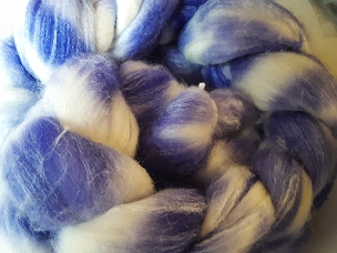 Violet Merino Silk dyed combed top