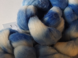 Sky Blue Merino Silk dyed combed top