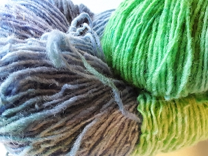 Pair of Sox Green/Blue Self-Striping Sock Weight Yarn