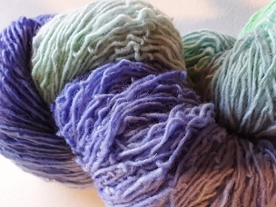 Pair of Sox green/Violet Self-Striping Sock Weight Yarn