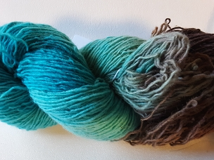 Pair of Sox Turquoise/Chestnut self-Striping Sock Weight Yarn