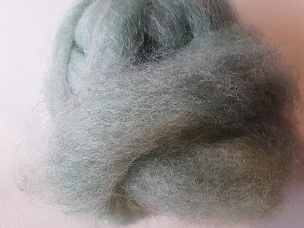 Gray Overdyed Turquoise Green with Angelina. Fleece Dyed Roving
