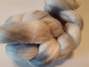 Silver Merino Silk dyed combed top