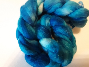 Intense Blues Merino Silk dyed combed top